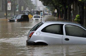 car submerged in a flood