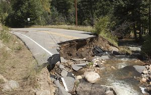 Highway destroyed by flood